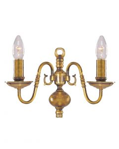 Flemish Solid Antique Brass 2 Wall Light