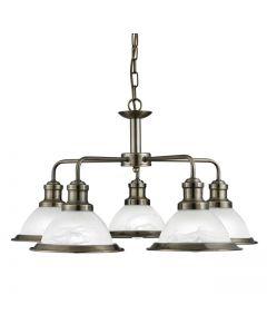 Bistro Antique Brass 5 Light Pendant