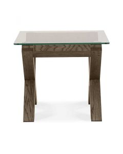 Turin Dark Oak Glass Top Lamp Table