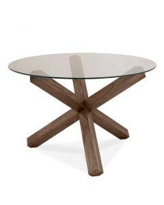 Turin Dark Oak Glass Top Round Dining Table