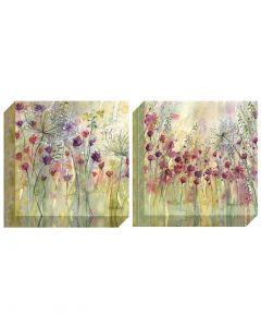 Spring Floral Pods I & Spring Floral Pods II by Catherine Stephenson - 40 x 40cm
