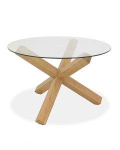 Turin Light Oak Circular Glass Top Dining Table