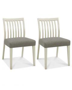 Bergen Grey Washed Oak Low Slat Back Dining Chair - Pair