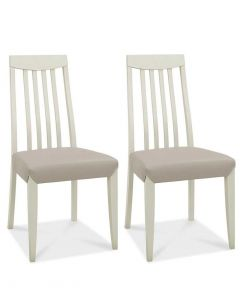 Bergen Grey Washed Oak Slat Back Grey Bonded Leather Dining Chair - Pair