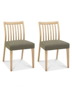 Bergen Oak Low Slat Back Black & Gold Dining Chair - Pair