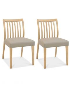Bergen Oak Low Slat Back Grey Bonded Leather Dining Chair - Pair