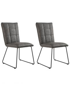 Grey Panelled Back Chair with Angled Legs - Pair