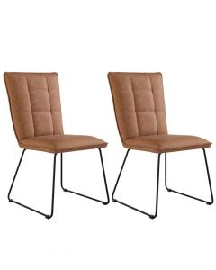 Tan Panelled Back Chair with Angled Legs - Pair