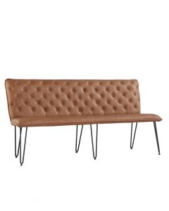 Large Studded Back Bench with Hairpin Legs - Tan