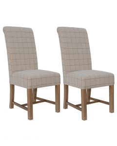 Natural Beige Check 100% Wool Dining Chairs - Pair