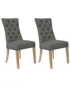 Dark Grey Curved Button Back Dining Chairs - Pair