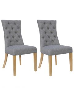 Light Grey Curved Button Back Dining Chairs - Pair