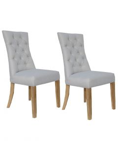 Natural Beige Curved Button Back Dining Chairs - Pair