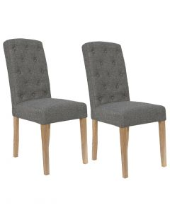Dark Grey Button Back Dining Chairs - Pair