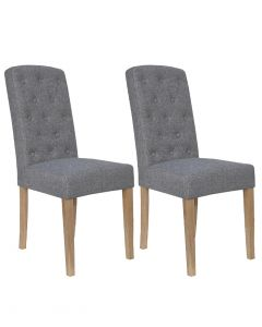 Light Grey Button Back Dining Chairs - Pair