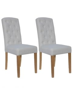 Natural Beige Button Back Dining Chairs - Pair