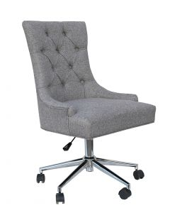 Light Grey Button Back Office Chair with Chrome Legs