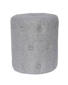 Light Grey Button Detail Footstool