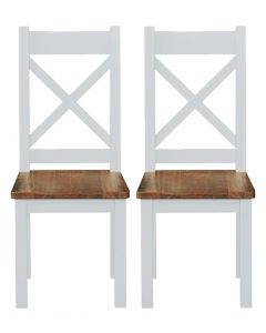 Cotswold Painted White Cross Back Dining Chairs - Pair