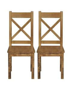 Cotswold Rustic Oak Dining Chair - Pair