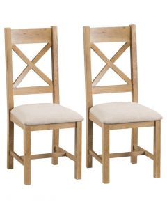 Country Oakham Cross Back Dining Chairs with Fabric Seat - Pair