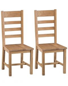 Country Oakham Ladder Back Dining Chairs with Wooden Seat - Pair
