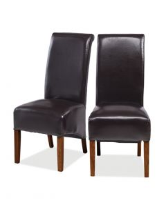 Krishna Upholstered Dining Chair - Brown Bonded Leather - Pair