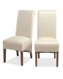 Krishna Upholstered Dining Chair - Beige Bonded Leather - Pair
