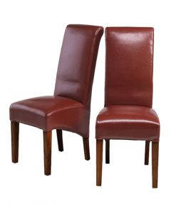 Krishna Upholstered Dining Chair - Red Bonded Leather - Pair