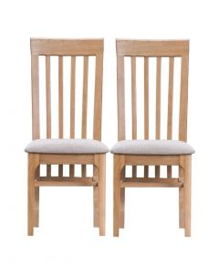 Embalse Slat Back Dining Chairs Fabric Seat - Pair