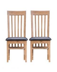 Embalse Slat Back Pu Seat Dining Chair- Pair
