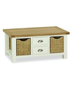 Norfolk Painted Large Coffee Table with Baskets