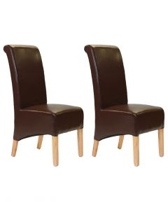 Gerona Faux Leather Dining Chairs - Pair