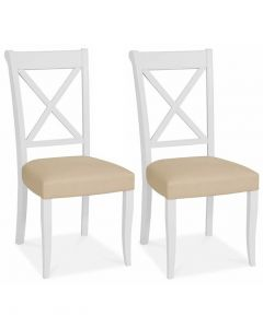 Hampstead Two Tone Bonded Leather Cross Back Dining Chair - Pair