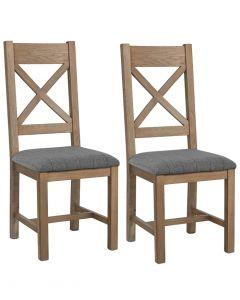 Harrogate Grey Check Cross Back Dining Chairs - Pair