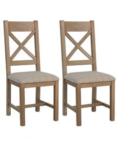 Harrogate Natural Check Cross Back Dining Chairs - Pair