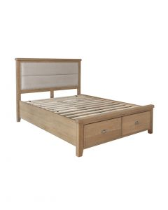 Harrogate King Size Bed with Fabric Headboard and Drawer Storage