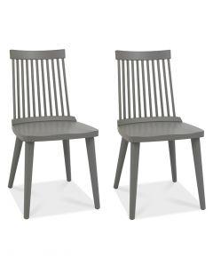 Ilva Spindle Dining Chairs Dark Grey - Pair