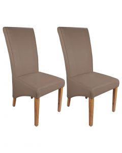 Marseille Madras Leather Dining Chairs - Pair