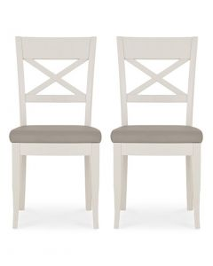 Montreux Grey Washed Oak & Soft Grey X Back Dining Chair - Pair