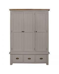 Cotswold Painted Grey Triple Wardrobe