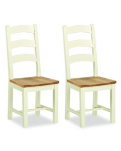 Norfolk Painted Slatted Dining Chairs - Pair