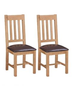 Pendle Oak Pu Seat Dining Chairs - Pair