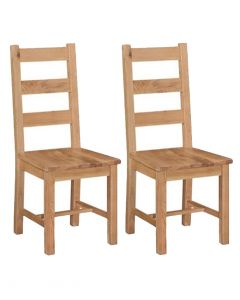 Pendle Oak Wooden Seat Dining Chairs - Pair