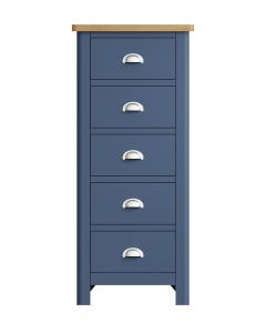 Sienna Painted Blue 5 Drawer Narrow Chest