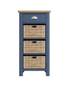 Sienna Painted Blue 1 Drawer 3 Basket Unit