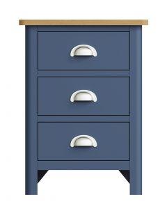 Sienna Painted Blue 3 Drawer Bedside Cabinet