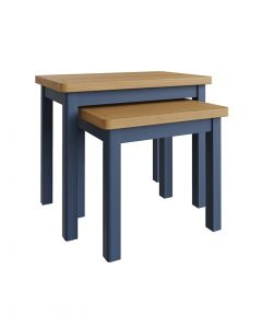 Sienna Painted Blue Nest of 2 Tables