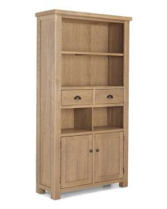 Rutland Rough Sawn Tall Bookcase with Drawers