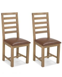 Rutland Rough Sawn Upholstered Dining Chairs - Pair